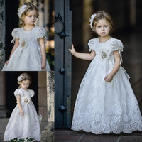 baby blue evening dresses - Vintage Lace Flower Girls Dresses A Line Short Sleeves Baby Toddler Dress For Evening Weddings Custom Made Crew Kids Formal Wear