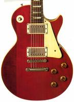 venda por atacado electric mop-Custom Shop Lucy Assinatura Vermelha Crimson Vintage Guitarra Elétrica Gold Grover Tuners Bloco MOP Fingerboard Inlay Gold Hardware Pickguard Branco