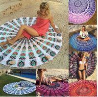 Printed beach towel black - Mandala Shawl Wrap Yoga Mat Round Beach Towels Carpets Printed Tablecloth Bohemian Beach Towel Serviette Covers Design