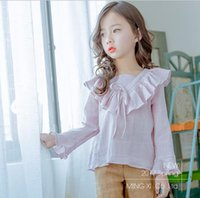 Wholesale 2017 new Girls Ruffles Shirt Cotton Full Sleeve Linen Spring Solid Colors Girls Blouses G421