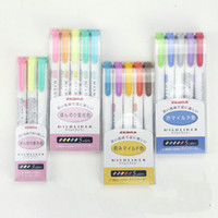Wholesale Zebra MildLiner Highlighter Marker Double Sided Round Toe Oblique WKT7 Colors Absorted Office and School Supply