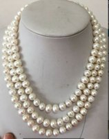 australian plants - three strands natural Australian south seas white pearl necklace mm