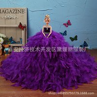 Wholesale Barbie doll clothes feather wedding bridehigh grade large skirt tail children gifts
