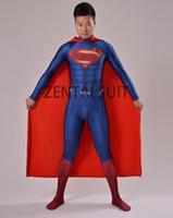 Wholesale 2016 Superman Costume Man of Steel Superman D Shade Spandex Lycra Halloween Cosplay Zentai Suit Hot Sale