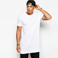 Wholesale White Casual Long Size Men long t shirt Hip hop Brand new Clothing Tops StreetWear t shirt Solid Color Short Sleeve tshirt