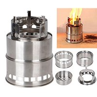 Wholesale Portable Stainless Steel Camping Stove Lightweight Charcoal Wood Stove Picnic Outdoor Cooking BBQ emergency preparation Backpacking Stove