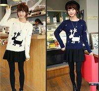 Vente en gros-femmes tricoté chandail de Noël avec des cerfs femelles occasionnels mohair pull 2016 nouvelle mode hiver rennes chandail femme
