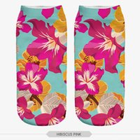 Wholesale New Arrival Hibiscus Pink D Print sock Women s Girls Low Cut Ankle Socks Sport Hosiery Printed Sock