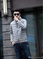Wholesale Fall Winter Duck down jacket men Down Content thin ultra light down jacket winter long sleeve solid winter coats pocket fashion