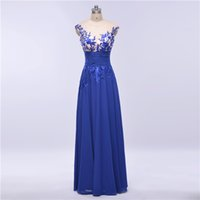 Wholesale In Stock Royal Blue Evening Dresses A Line Applique Beading Sexy Back Sheer Neck Illusion Bodice Party Prom Gowns Elie Saab Dress
