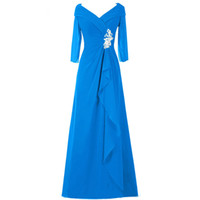 Wholesale Plus Size Mother of the Bride Dress for Wedding A line V neck Chiffon Long Evening Dress Formal Dress for Special Occasions
