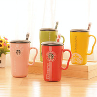 artistic logos - New Creative Starbucks Artistic coffee Cup Small fresh style Mermaid logo coloured glaze ceramics mug with lid spoon gift