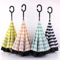 Wholesale 4 colors Navy Stripe Inverted Umbrellas C shape J shape Handle Waterproof Double Layer Reverse Car Umbrella Paraguas Rain Umbrella