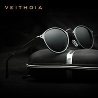 VEITHDIA marca de moda unisex gafas de sol polarizado revestimiento espejo conducir gafas de sol ronda hombre gafas para hombres / gafas de sol baratos de las mujeres 6358