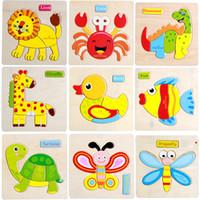 Wholesale 3D three dimensional wooden animals puzzle children children fight board intelligence wooden toys birthday gift