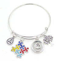 autism jewelry - New Arrival Snap Jewelry Hope Ribbon Tree Lift Puzzle Autism Charm Expandable Wire Adjustable Snap Bangles Bracelet for women pulsera