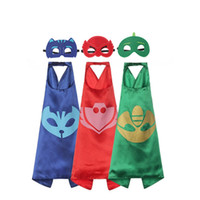 Wholesale 3 Styles Double Side Superhero Capes with mask Amaya Connor Grey Capes with mask cm Kids Cosplay Halloween Costumes