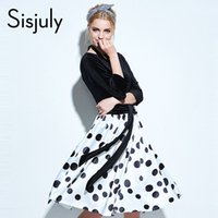 Sisjuly vestido vintage 2017 mujeres elegante blanco negro lunar una línea de rodilla longitud bloque vestido de fiesta vestido de manga larga de la vendimia