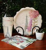 Precio de Torre eiffel al por mayor del partido-Venta al por mayor-40 conjuntos de placas de postre floral copas de bebida Estudio de partido pequeño rosa Edelweiss Violeta Hyacinth torre Eiffel favor de la boda