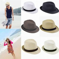 Wholesale Panama Straw Hats Fedora Soft Vogue Men Women Stingy Brim Caps Colors Choose in stock