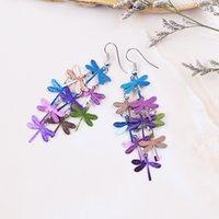 Wholesale Hot Sale New fashion Brincos De Festa Cute Blue Colorful Dragonfly Bohemian Jewelry Dangle Drop Earrings for Women EH0382