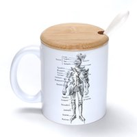 armor lid - Armor Mug Coffee Milk Ceramic Cup Creative DIY Gifts Mugs oz With Bamboo cover lid Spoon S097