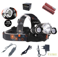 Wholesale 3T6 LM RJ x XM L T6 LED Headlight HeadLamp Rechargeable Flashlight Torch Battery Charger USB Cable