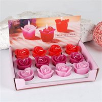 Wholesale Rose Flower Shape Candles set Colorful Dinner Candles Wedding Home Party Decoration Shipped with Mix Color