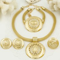 africa jewellery - Dubai Gold Plated Jewelry Sets Africa K Women jewellery Big necklace and earring set Laser design Christmas jewelry gift