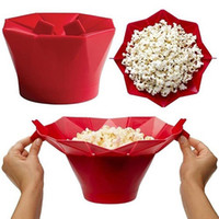 Wholesale Red Silicone Popcorn Maker Mini Foldable Easy To Use Popcorn Machine Kitchen Tools For Microwave Kitchen Appliance