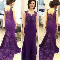 Wholesale 2017 Purple Evening Gowns Dresses Trumpet Appliqued Long Prom Dress Modern Mother Of The Bride Gown Vestido Largo Fiesta Noche