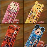 Wholesale Gift for Children both Girls or Boys study article New cute cartoon animals colorful Pencil Eraser Ruler Pencil Sharpener