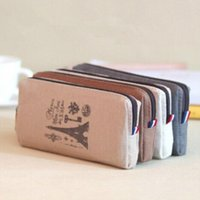 Wholesale PC Retro towers linen pencil bag students Paris style pencil cases stationery material escolar office supplies