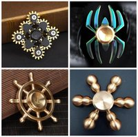 Big Kids fidget spinner with case - Fidget Spinner Metal Gyro Stainless steel Brass Tri Spinners rollver with retail case EDC Anxiety Decompression Fidget Toys Novelty Gift