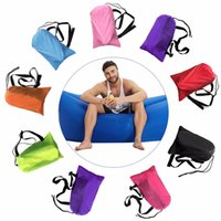Wholesale Fast Inflatable hangout Camping Sleep Bed Air Sofa Beach Bed Banana Lounger Air Bed Lazy Sleeping Bag Laybag With Side Pocket
