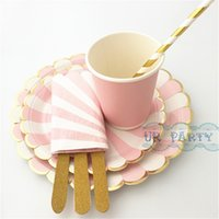 Wholesale Sets Striped Scallop Paper Plates Pink Cups Foil Gold Straws Glitter Wooden Cutlery Cocktail Napkins for Baby Shower