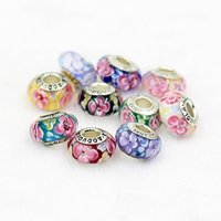 Wholesale Cherry Blossoms Loose Charms Beads DIY Flower Murano Glass Bracelet Pendants Beads with Hole Necklace Beads Jewelry Accessories