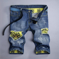 baggy jean shorts - Summer Fashion Jean Shorts Male Baggy Denim Tiger printing Loose Hole Ripped Biker Homme Overalls Men short jeans