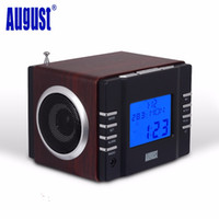 Portable battery speaker system - August MB300B Mini Wood FM Clock Radio Receiver and MP3 Stereo System with SD Card USB IN AUX IN x W HiFi Loud Speakers