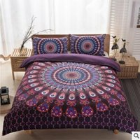 Wholesale Bohemia Bedding Sets New Luxury King Size Peacocks Elephant Printed Bedding Sets Geometric Quilt Cover Pillow Case Pillow Slip Sets