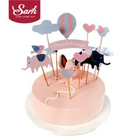 balloons and flowers - Elephant Balloon Eagle Rocket Bird Flower and Clouds Insert Cards with Toothpick Cake Decoration for Wedding Birthday Party Gift