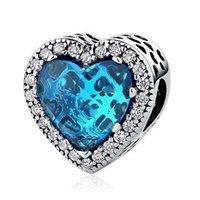 Cadeau Saint-Valentin élégant cœur d'amour bleu 100% 925 perles de charme en argent sterling s'adapte Pandora Bracelet Charmes européen