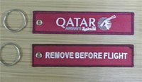 Wholesale QATAR Airways Doha Airline Remove Before Flight Style Embroidered Keyring Bag Tag x cm