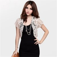 Wholesale Brand Women s Short Sweater Sleeve Flower Lace Hollow Out Five colors Lace Sweater Cardigan shawl