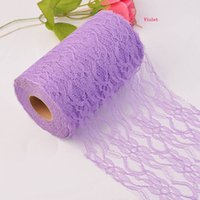 Wholesale 12 quot x Yards Lace Roll Tulle Lace Fabric For Table Runner Chair Sash Tulle Skirt Wedding Party Decor Gift Bow