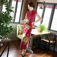 Wholesale 2016 autumn all around to play long cheongsam vents of dress is simple and elegant dress