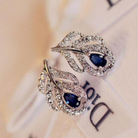 Wholesale New Fashion Silver Plated Leaf Stud Earrings Wedding Bridal Sapphire Jewelry Blue Zircon Earings For Women Gift brincos