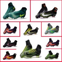Wholesale 2017New cheaps Football Shoes Boots Cleats Hypervenom FG Nail Soccer Shoes Mercurial High TOP Soccer Boots Cleats Red us6