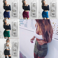 Wholesale Women s Vintage High Waist External Pocket Tight Suede Lace Up Skirt Autumn Winter Thick Pencil Skirt Preppy Mini Skirt Price