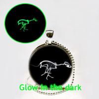 animal skeleton pictures - Glow in The Dark Jewelry The Dinosaur Skeleton Necklace Dinosaur Pendant Glass Picture Jewelry Glowing Necklace